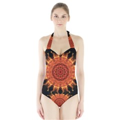 Flaming Sun Women s Halter One Piece Swimsuit