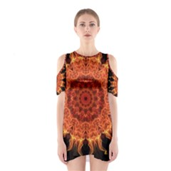 Flaming Sun Cutout Shoulder Dress