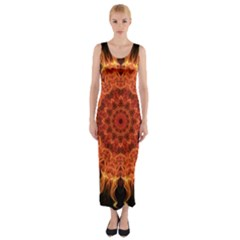 Flaming Sun Fitted Maxi Dress