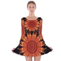 Flaming Sun Long Sleeve Velvet Skater Dress