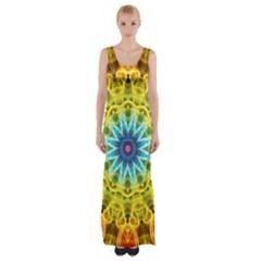 Flower Bouquet Maxi Thigh Split Dress