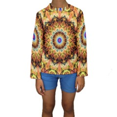 Ochre Burnt Glass Kid s Long Sleeve Swimwear