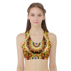 Ochre Burnt Glass Women s Sports Bra With Border