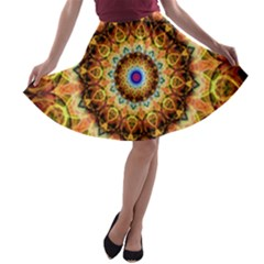 Ochre Burnt Glass A Line Skater Skirt