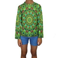 Peacock Feathers Mandala Kid s Long Sleeve Swimwear
