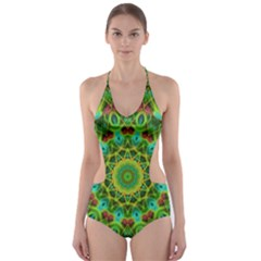 Peacock Feathers Mandala Cut-Out One Piece Swimsuit
