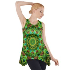 Peacock Feathers Mandala Side Drop Tank Tunic