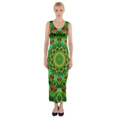 Peacock Feathers Mandala Fitted Maxi Dress