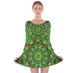 Peacock Feathers Mandala Long Sleeve Velvet Skater Dress