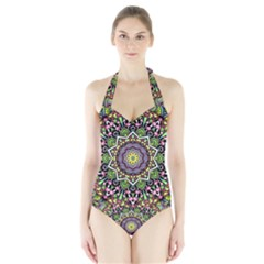Psychedelic Leaves Mandala Women s Halter One Piece Swimsuit