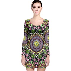 Psychedelic Leaves Mandala Long Sleeve Velvet Bodycon Dress