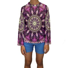 Purple Flower Kid s Long Sleeve Swimwear