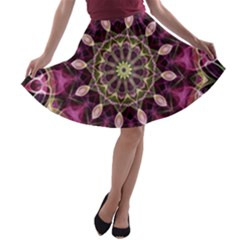 Purple Flower A Line Skater Skirt