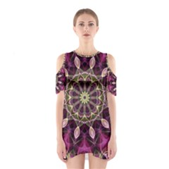 Purple Flower Cutout Shoulder Dress