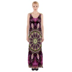 Purple Flower Maxi Thigh Split Dress