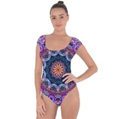 Purple Lotus Short Sleeve Leotard (ladies)