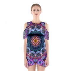 Purple Lotus Cutout Shoulder Dress