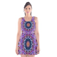 Purple Lotus Scoop Neck Skater Dress