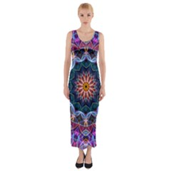 Purple Lotus Fitted Maxi Dress