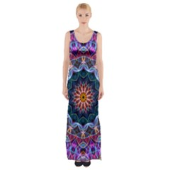 Purple Lotus Maxi Thigh Split Dress