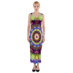 Rainbow Glass Fitted Maxi Dress