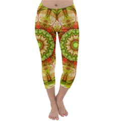Red Green Apples Mandala Capri Winter Leggings