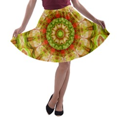 Red Green Apples Mandala A-line Skater Skirt