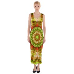 Red Green Apples Mandala Fitted Maxi Dress
