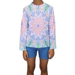 Soft Rainbow Star Mandala Kid s Long Sleeve Swimwear