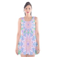 Soft Rainbow Star Mandala Scoop Neck Skater Dress