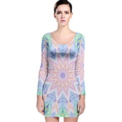 Soft Rainbow Star Mandala Long Sleeve Velvet Bodycon Dress