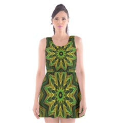 Woven Jungle Leaves Mandala Scoop Neck Skater Dress
