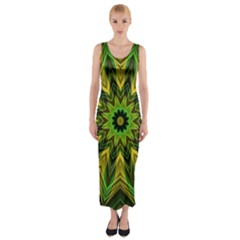 Woven Jungle Leaves Mandala Fitted Maxi Dress