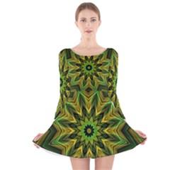 Woven Jungle Leaves Mandala Long Sleeve Velvet Skater Dress