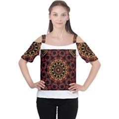 Yellow And Red Mandala Women s Cutout Shoulder Tee