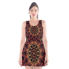Yellow And Red Mandala Scoop Neck Skater Dress