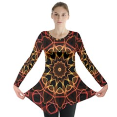 Yellow And Red Mandala Long Sleeve Tunic