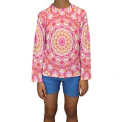 Yellow Pink Romance Kid s Long Sleeve Swimwear