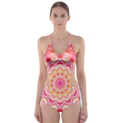 Yellow Pink Romance Cut-Out One Piece Swimsuit