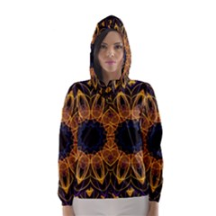 Yellow Purple Lotus Mandala Hooded Wind Breaker (Women)