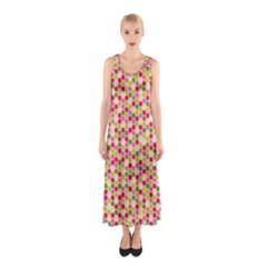 Pink Green Beehive Pattern Full Print Maxi Dress