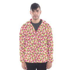 Pink Green Beehive Pattern Hooded Wind Breaker (men)