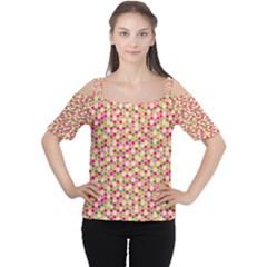 Pink Green Beehive Pattern Women s Cutout Shoulder Tee