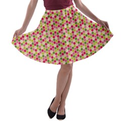 Pink Green Beehive Pattern A Line Skater Skirt