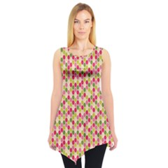 Pink Green Beehive Pattern Sleeveless Tunic