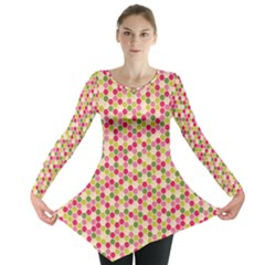 Pink Green Beehive Pattern Long Sleeve Tunic