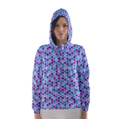Purple Blue Cubes Hooded Wind Breaker (Women)