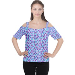 Purple Blue Cubes Women s Cutout Shoulder Tee
