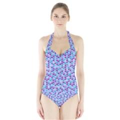 Purple Blue Cubes Women s Halter One Piece Swimsuit