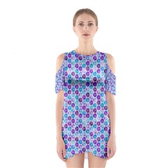 Purple Blue Cubes Cutout Shoulder Dress